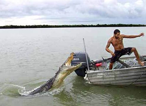 This monster croc came within a metre of making a meal of fisherman Novon Mashiah on a Territory river.