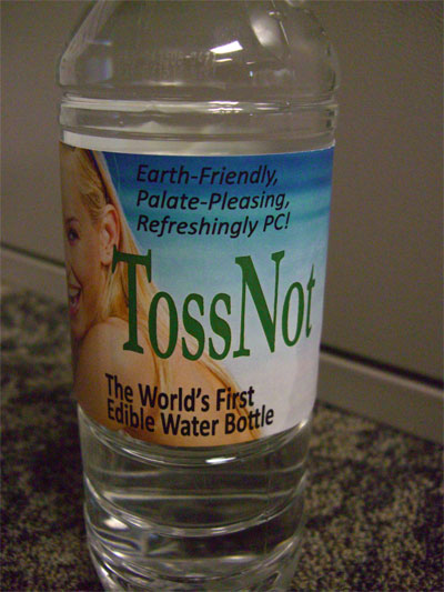 tossnot world first edible water bottle