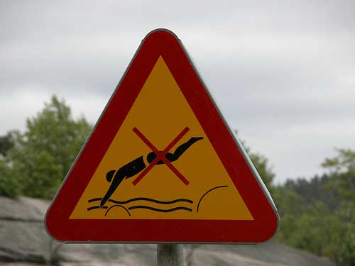 Diving warning sign from Delsjön, Gothenburg, Sweden