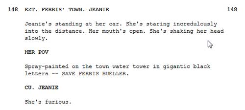 Water Tower script snip Ferris Bueller's Day Off
