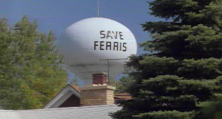 Northbrook Illinois water tower painted with Save Ferris