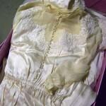 Gayle Leonards wedding dress in basement storage