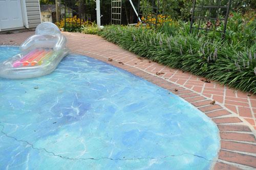 Trompe loeil painted swimming pool