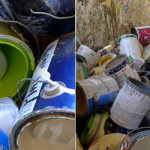 empty cans after recycling paint at Johnson county kansas environmental facility