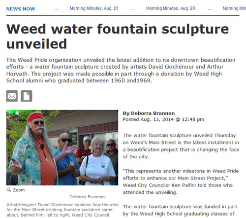 Weed CA water fountain story screenshot
